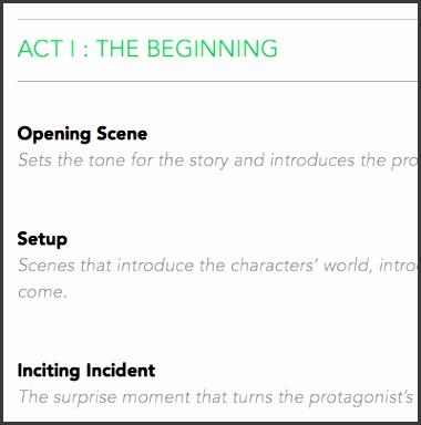 Three act story plot template