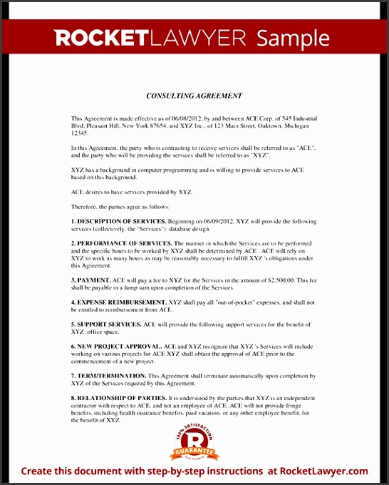 Consulting Agreement Consulting Contract Template With Sample regarding Consultant Agreement Template