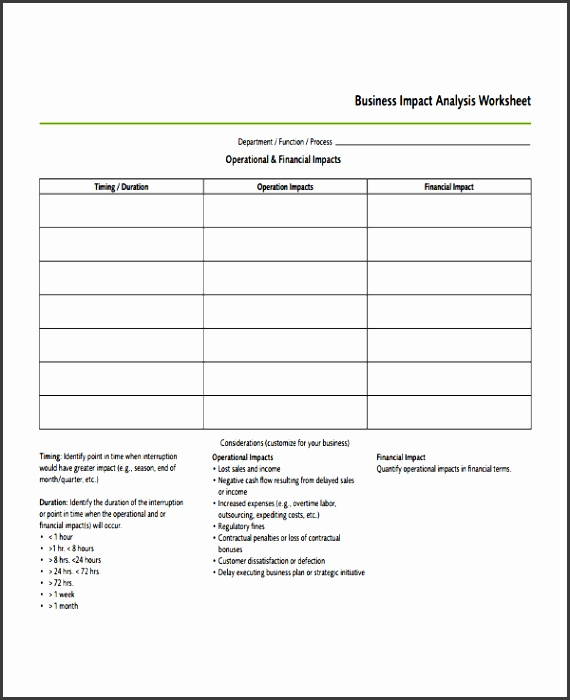 5 Business Impact Analysis Template Word