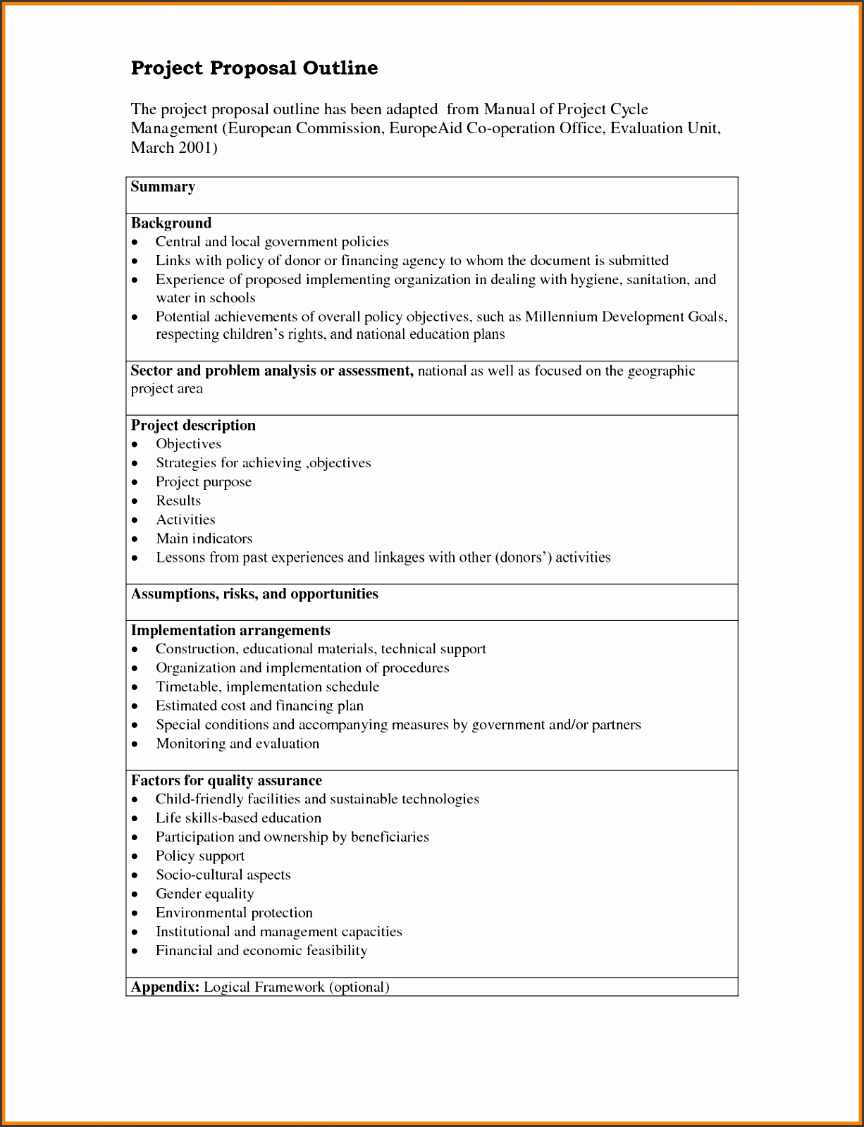 Project Proposal Outline Enom warb for Business Project Proposal Template