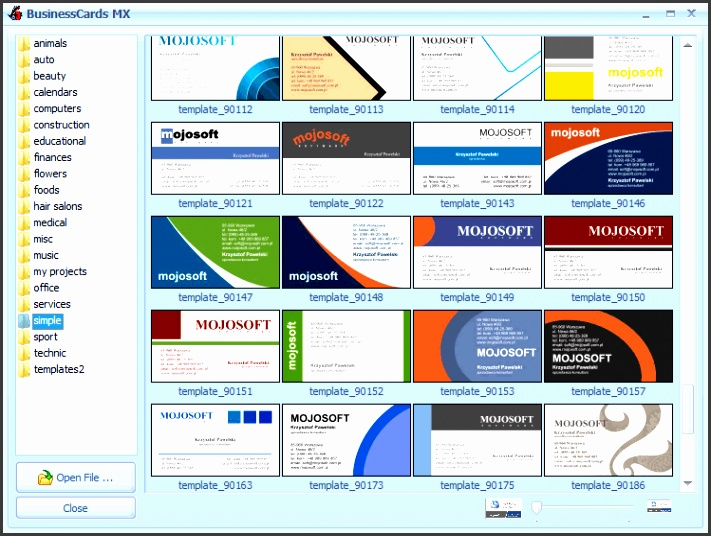 business card examples business cards samples software