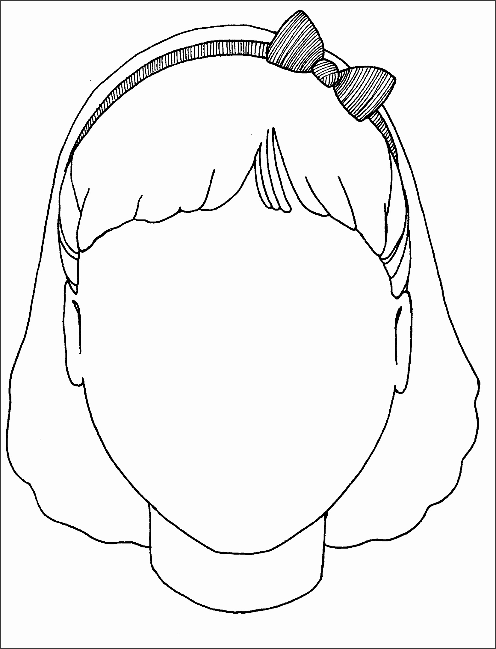 Girl Blank Face Coloring Page