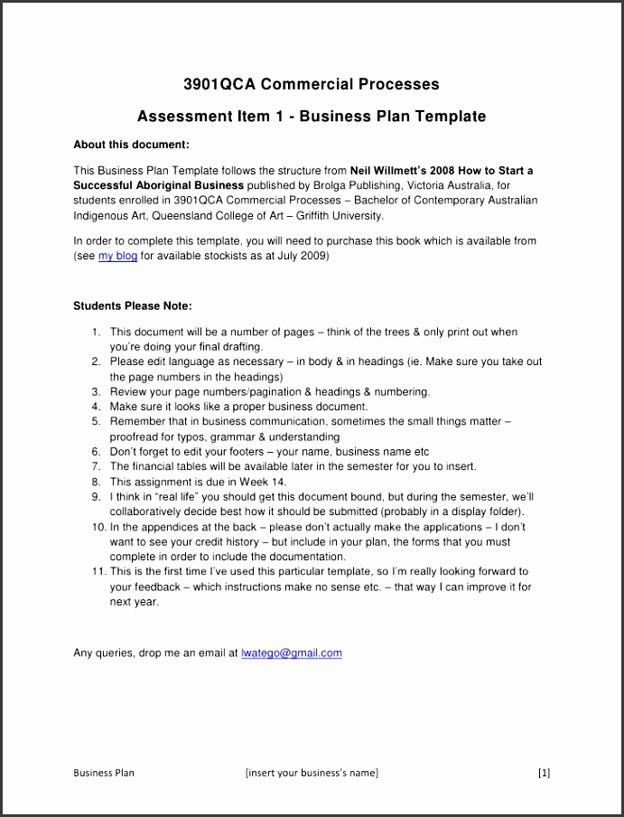 3901QCA mercial Processes br Assessment Item 1 Business Plan Template br