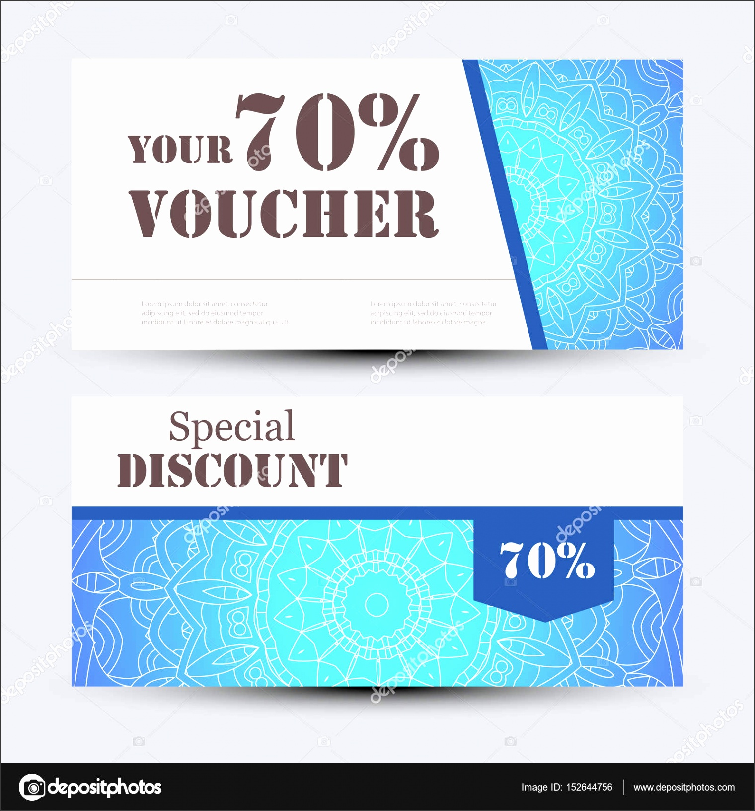 Gift voucher template with mandala Design certificate for sport center magazine or etc Vector t coupon with ornament on background