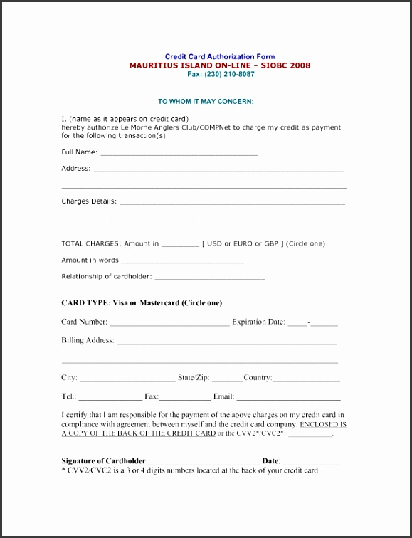 7 Credit Card Authorization form Template Excel ...