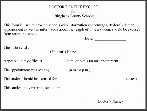 Doctors Excuse Template for School