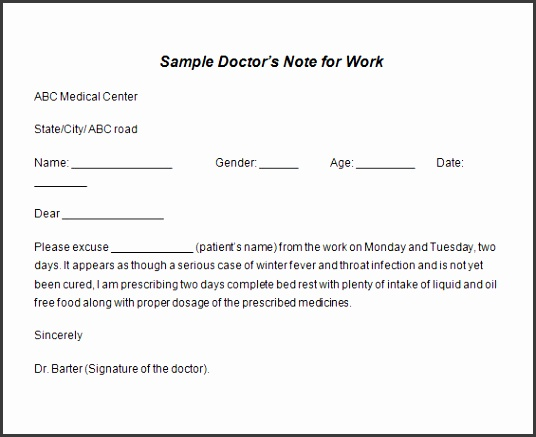 Sample Doctors Note Template1