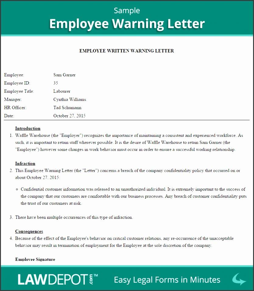 Employee Warning Letter Sample