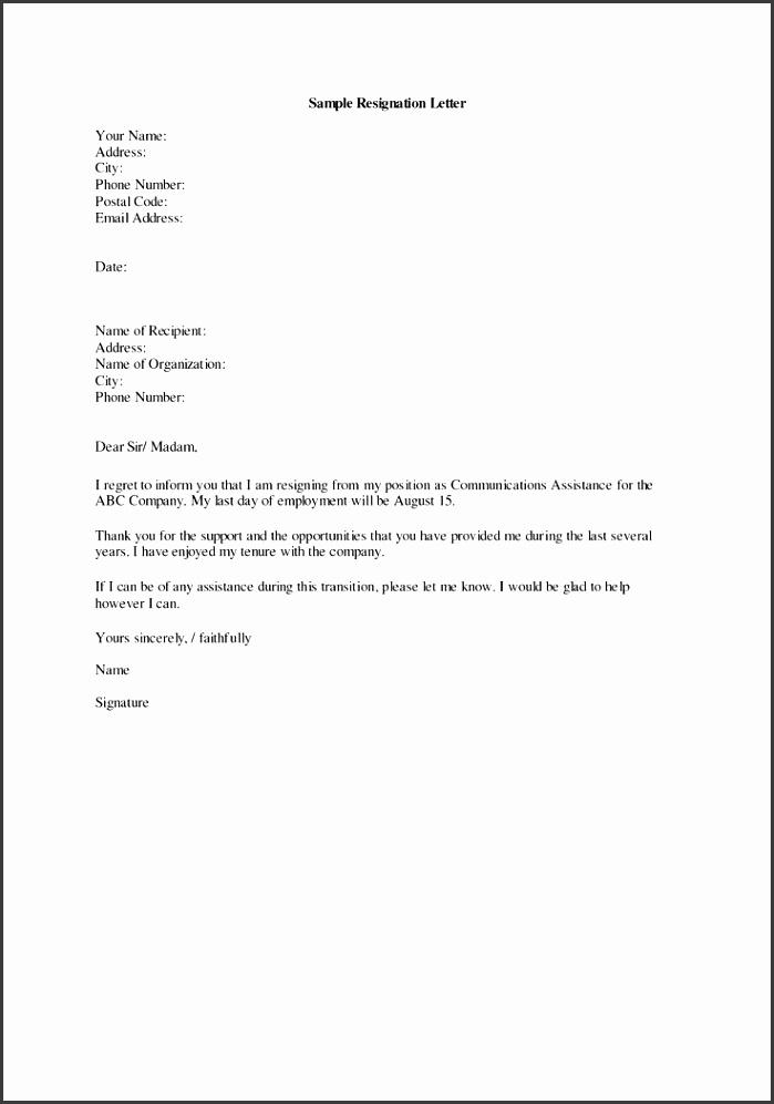 Best Simple Resignation Letter Format Ideas