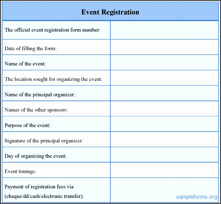 registration form sample for event 507