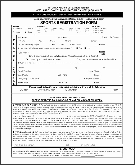 Sports Event Registration Form