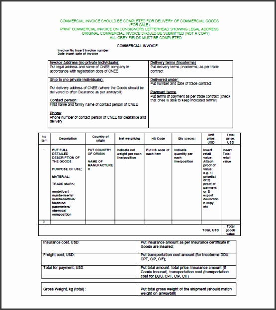 mercial Invoice Format