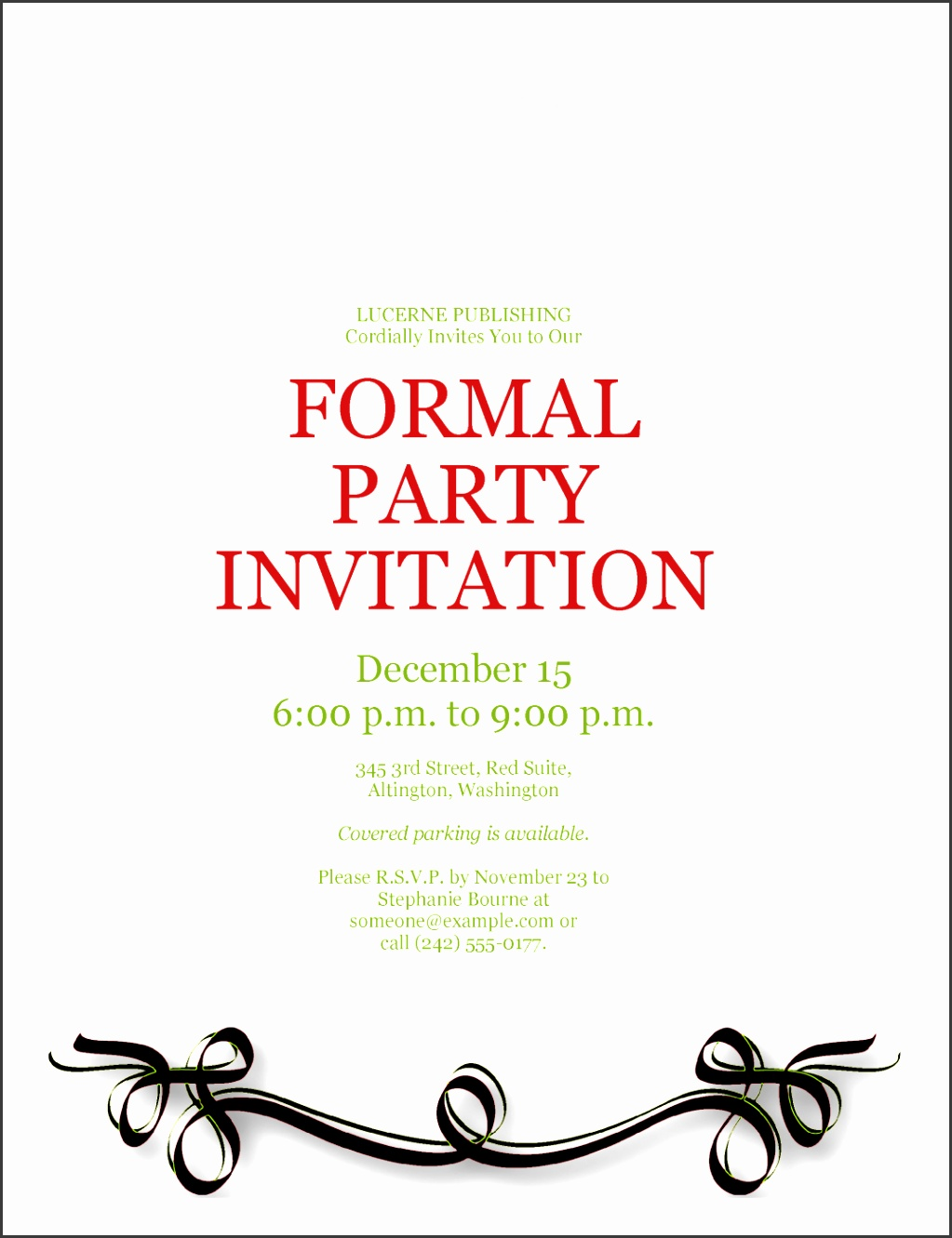 Sample Formal Party Invitation Template