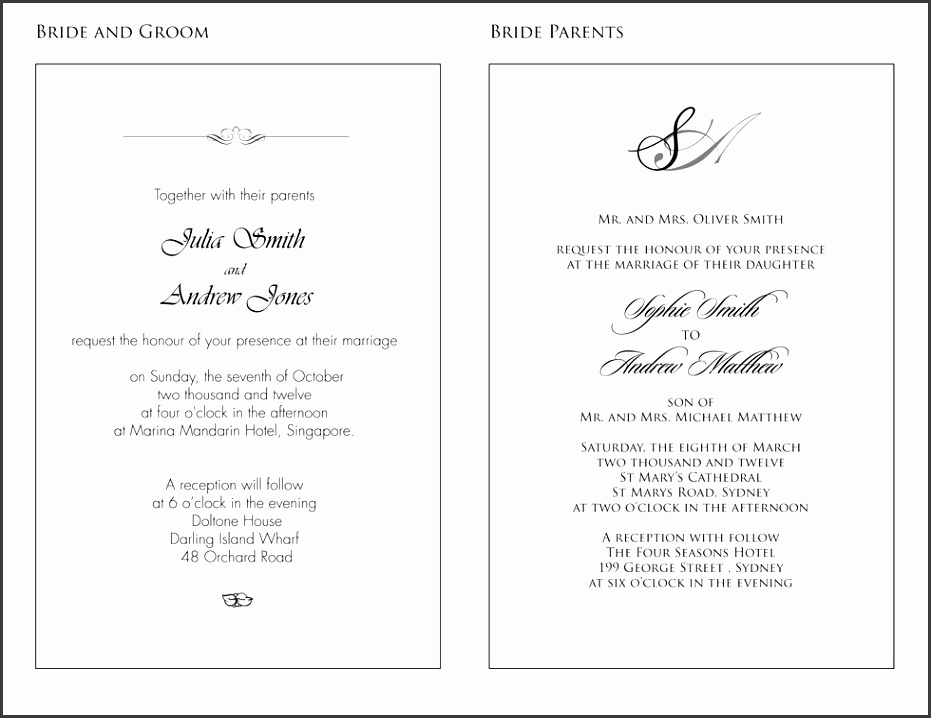 Formal Wedding Invitation Templates: 9 Formal Wedding Invitation Wording Samples