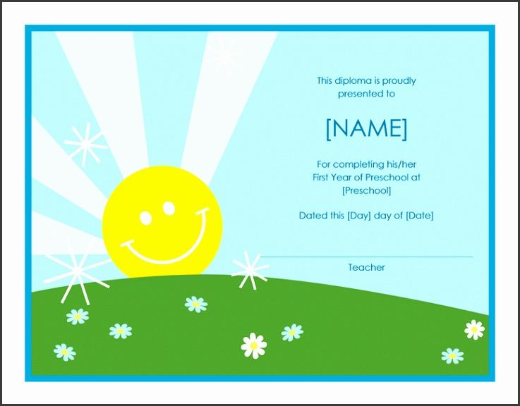 Preschool diploma certificate Sunshine design