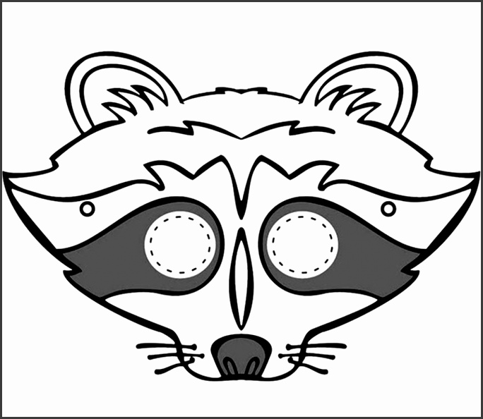 kids face masks template for coloring racoon