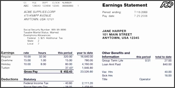 Adp Pay Stub Template Free Pay Stub Template Free Word Pdf Excel Format Documents