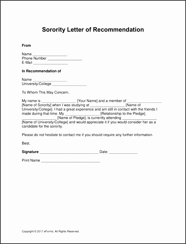Free Sorority Re mendation Letter Template with Samples PDF Word