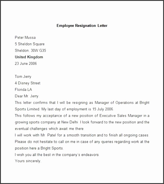 Sample Employee Resignation Letter Free Download