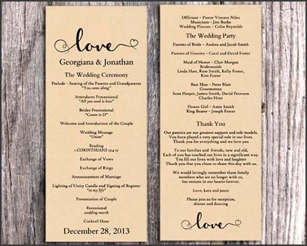 Burlap Wedding Program Template DIY Editable Word File Download Program Rustic Program Heart Program Printable Wedding Program 4x9 25inch