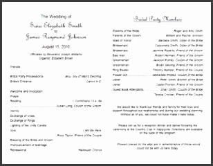 Print Free Wedding Program Templates