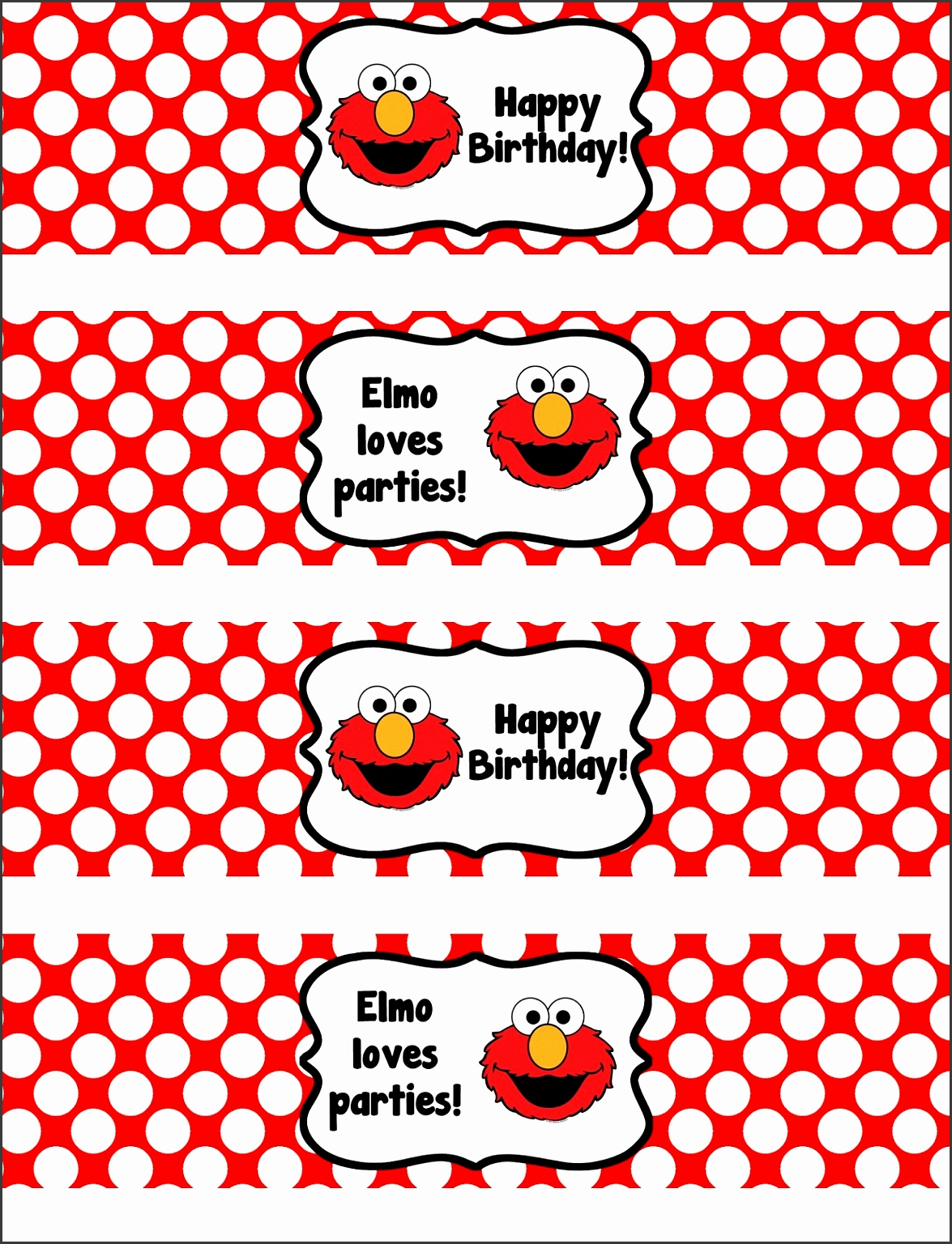 Binge crafter free printable elmo happy birthday water bottle clipart