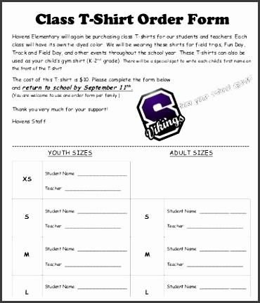 Class T Shirt Order Form