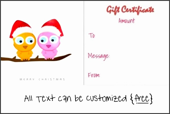 christmas t certificate template with two cute owls on a branch