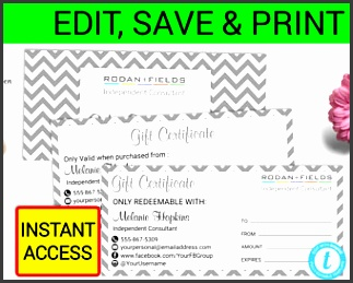 Rodan and Fields Gift Certificate R F Coupon R F Certificate
