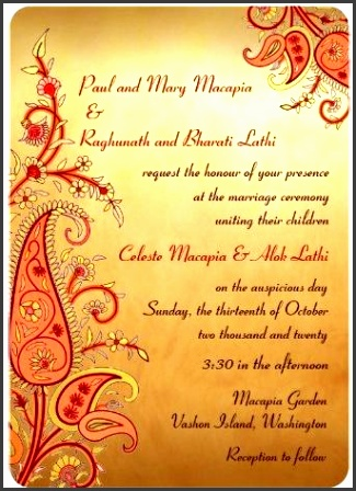 indian wedding invitations and wedding invitation templates detailed large paisley motif indian wedding invitations