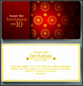 ornate invitation cards design vector