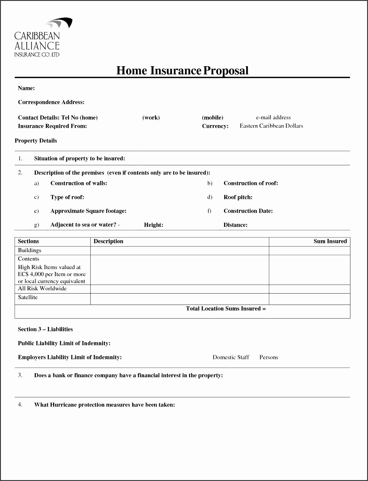 Proposal form Elegant form Insurance Proposal form
