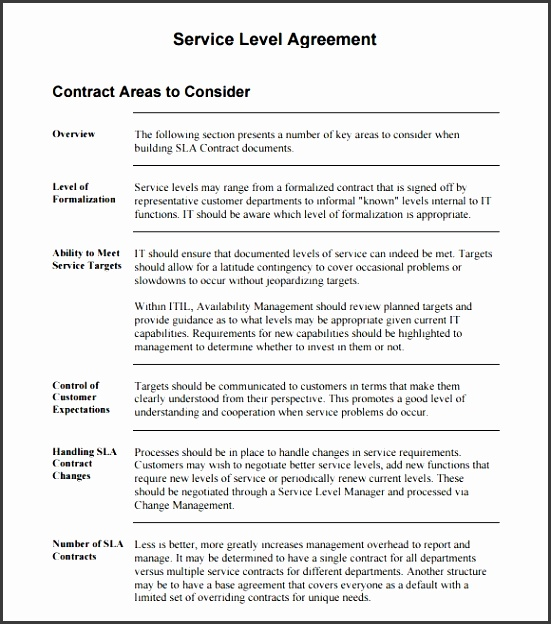 Sla Service Level Agreement Awesome Sla Service Level Agreement Template