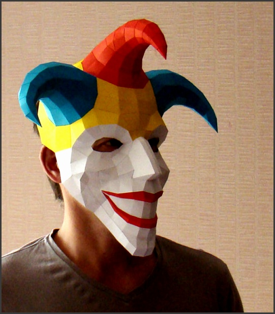 Joker mask paper mask Papercraft Halloween mask jester printable DIY PDF template