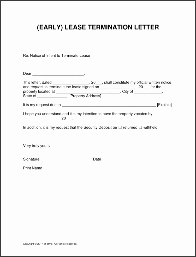 Free Early Lease Termination Letter Template For Landlords and Tenants PDF Word