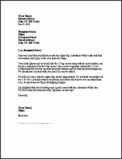 Letter Explanation Template