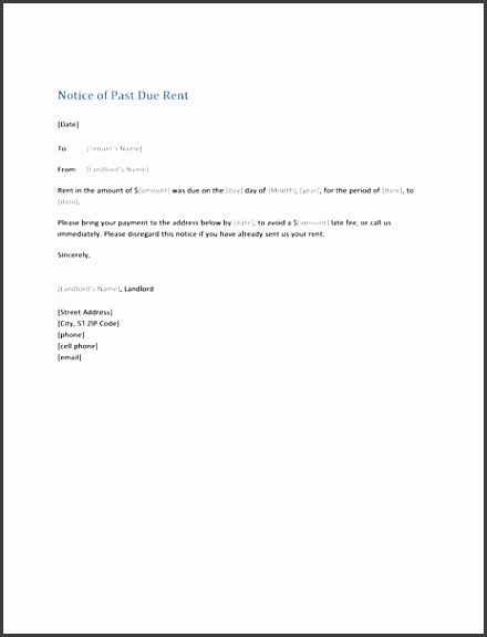 Notice of past due rent form letter