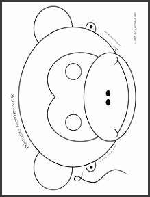 Printable Monkey Animal Mask Coloring Page
