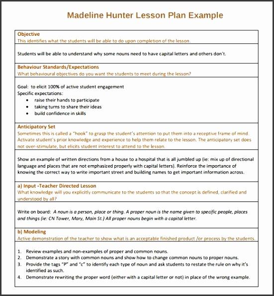 7 Madeline Hunter Lesson Plan Template - SampleTemplatess ...