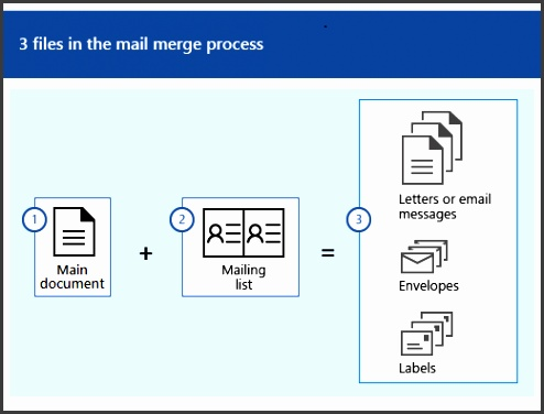 Three files in the mail merge process which is a main document plus a mailing