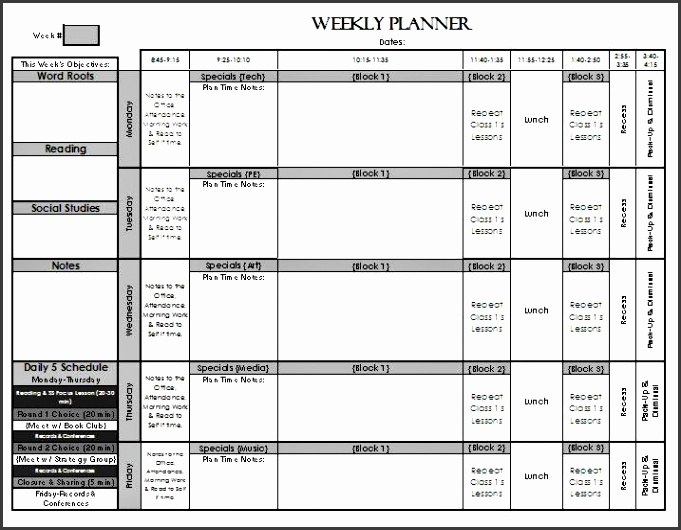 Check Out My Weekly Lesson Planning Page Templates For Elementary