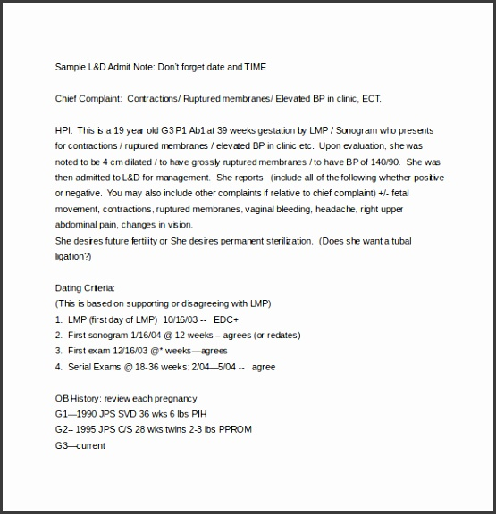 Labour and delivery Soap Note Word Free Download