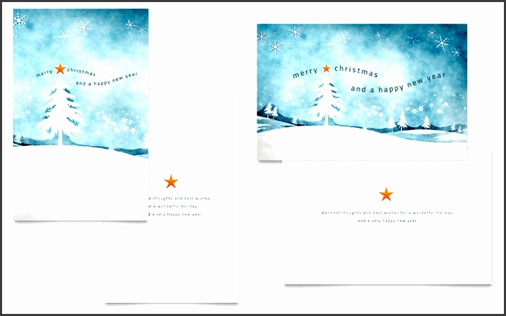 Birthday Card Publisher Template Inspirational Winter Landscape Greeting Card Template Word &