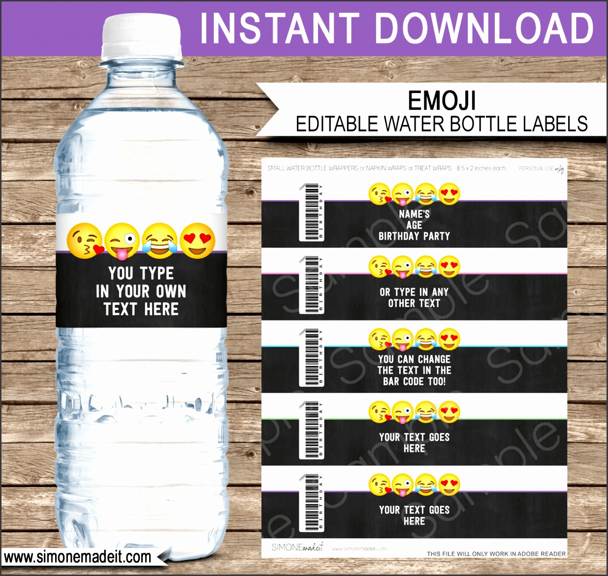 Emoji Water Bottle Labels template Emoji Theme Birthday Party Napkin Wraps
