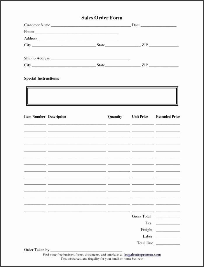 Best Simple Order Form Template Word