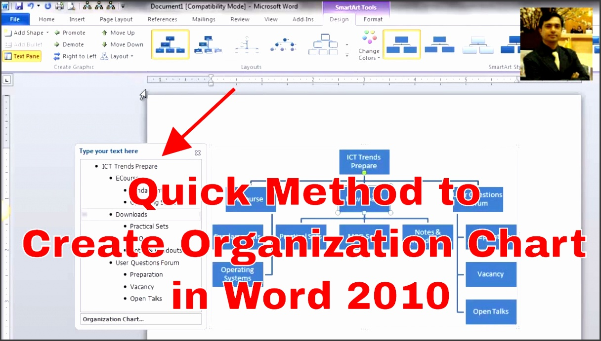 How to make an organizational chart Creating Organization Chart in Word 2016