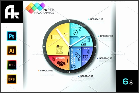 Paper Infographic Clock Template Presentations