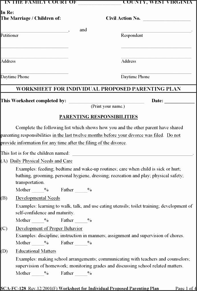 West Virginia Worksheet for Individual Proposed Parenting Plan