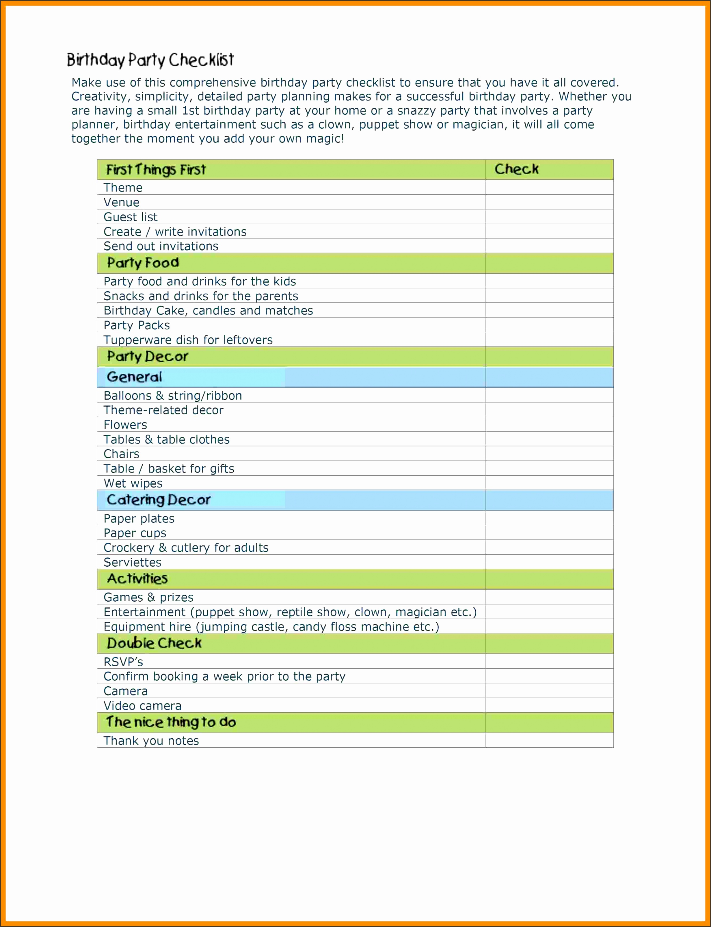 Free Templates Birthday Party Checklist Template Free Templates Birthday Party Checklist Template