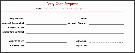 Petty cash request slip